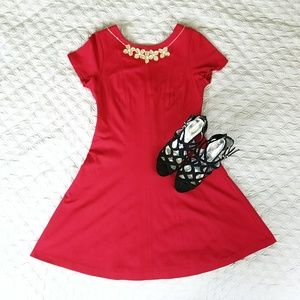 Banana Republic   Red fit and flair midi dress.